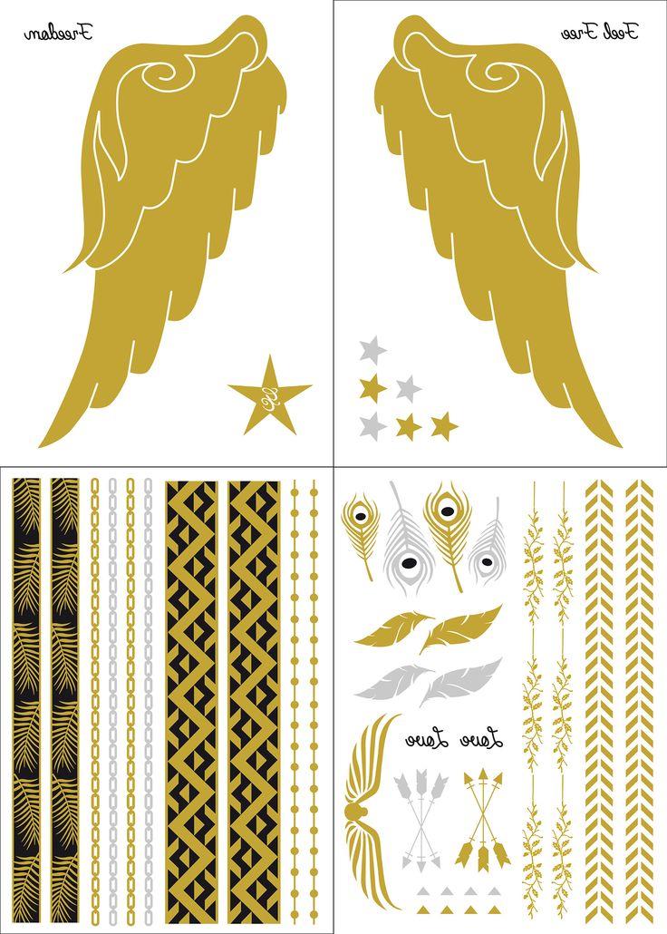 """Contiene 4 hojas con diferentes diseños: - 2 hojas con las alas doradas, estrella-logo, estrellas y texto """"Freedom """" y """"Feel Free"""" - 2 hojas con brazaletes, pulseras, tobilleras y demás elementos para completar tu look."""