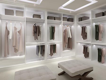 Master closet, only with chocolate hardwood floors, embedded ceiling lighting and a crystal chandelier.