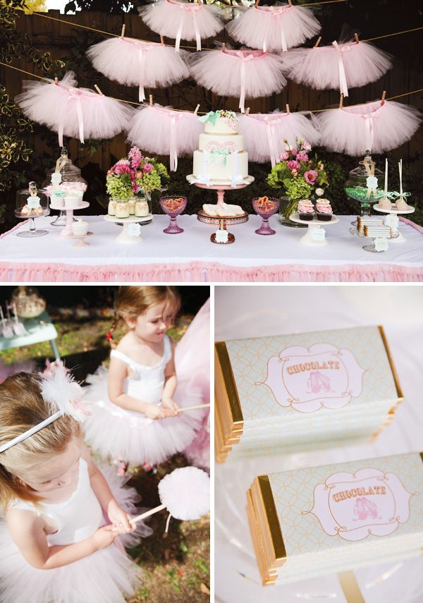 Ballerina birthday party with pink tutu dessert table backdrop