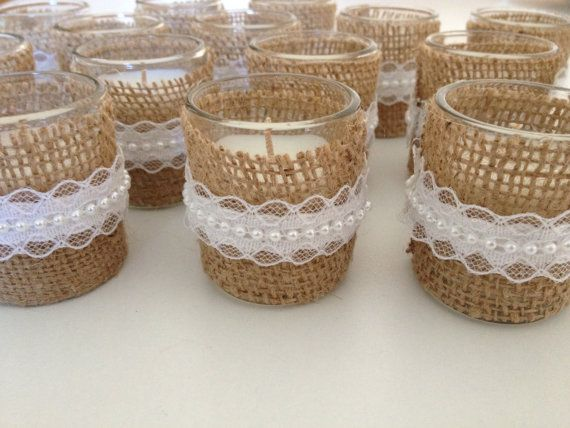 Votive candles wrapped in burlap with lace pearl, great rustic wedding candles. on Etsy, $15.00