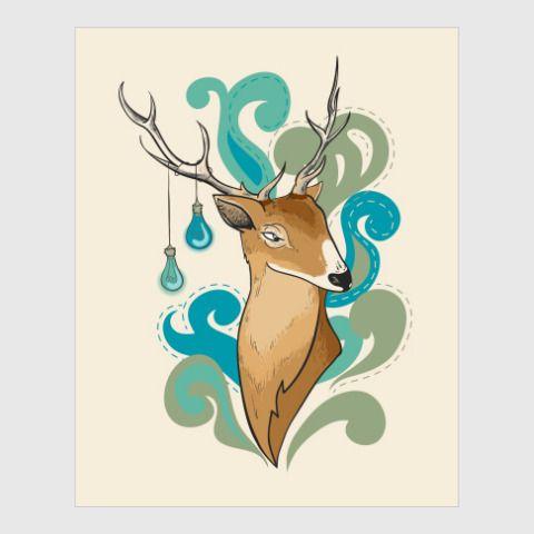 Постер Бирюзовый олень - Мудрый олень