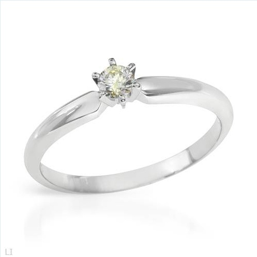 Irresistible Brand New Solitaire Ring With Genuine  Clean Diamond Crafted in 14K White Gold- Size 6.5 We Can Resize from 5.5 to 7.5 - Certificate Available.
