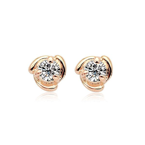 Earrings - Platinum or 18K Rose Gold Plated, Austrian Crystal Studs