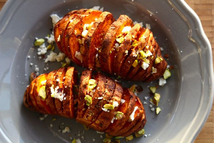 Hasselback Sweet Potatoes with Feta & Pistachios