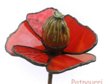 Maanzaad hoofd, glazen bloem en tuin stekker / decoratie Tiffanytechnik / gekleurd glas