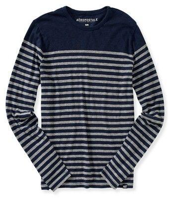 Aeropostale Mens Long Sleeve Breton Stripe Tee Shirt