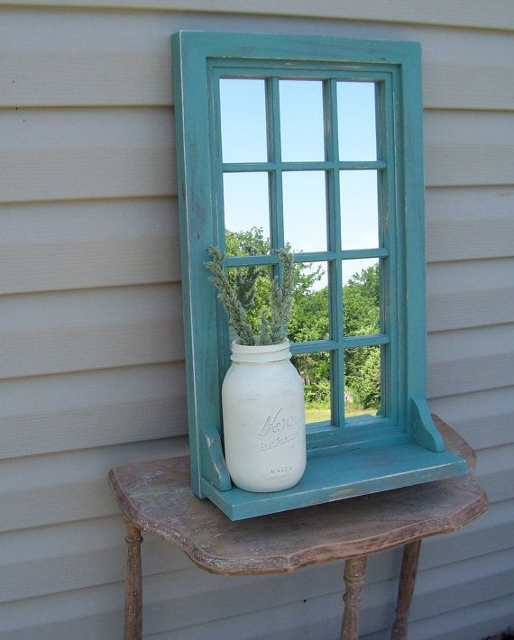 Beach Green Mirrored Shelf, Cottage Wall Decor.  Re-finish the wall mirror in basement!