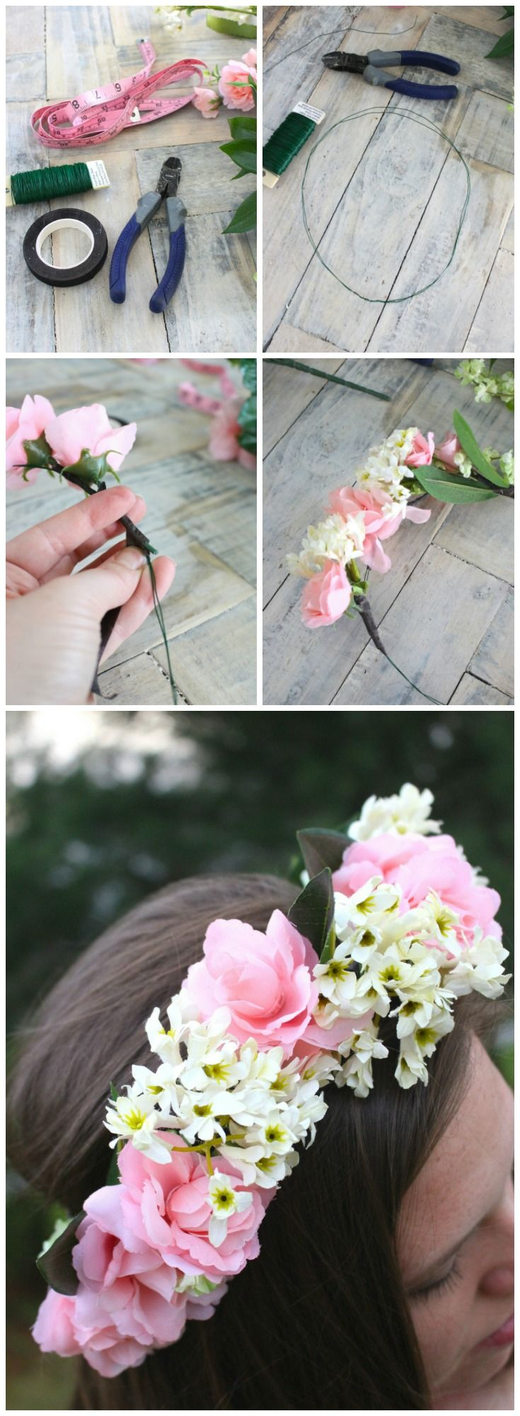 How to make your own boho flower crown. Easy and simple DIY perfect for any hairstyle, wedding, or photoshoot.