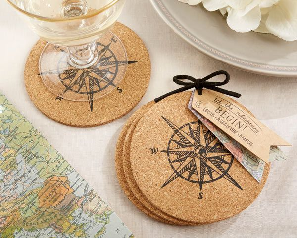 Slick nautical or beach themed coaster favor your guests will use! First Avenue Wedding Favors - Compass Design Cork Coaster Favors (4 coasters/set), $3.92; always volume discounts! (http://www.firstavenueweddingfavors.com/compass-design-cork-coaster-favors-set-of-4-coasters/) #nauticalthemecoasterfavors