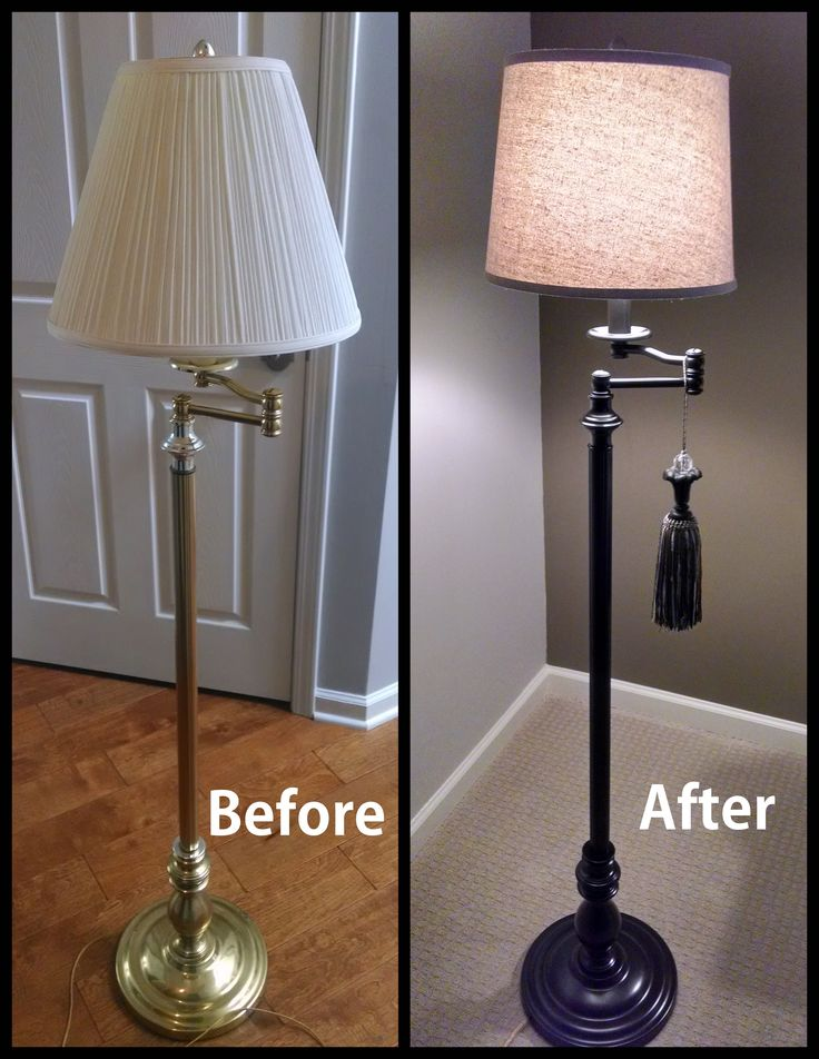 Floor lamp makeover. New lampshade and Rustoleum Oil Rubbed Bronze, makeover less than $20!