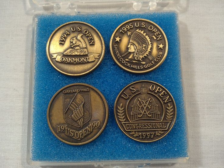 US Open Golf Ball Markers 2cm 1994, 1995, 1996, 1997 Display Carrying Case