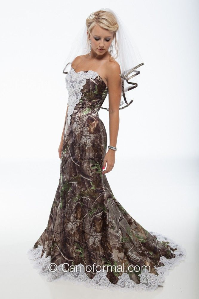 "3887 ""Ellen"" Camo Mermaid Wedding Gown with Sweep Train Camouflage Prom Wedding Homecoming Formals"