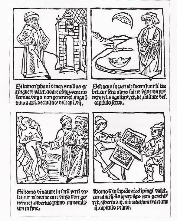 """BLOCK BOOK page from The Story of the Blessed Virgin, 1400s.  This page attempts to justify the Immaculate Conception by a series of """"logical"""" parallels: If the light of Venus's temple cannot be extinguished, if the moon is reflected in water, if a person can be changed into stone, and if man can be painted on stone, why should not the Blessed Virgin be able to generate?  This approach to sequential art is centuries before the development of comic strips!"""