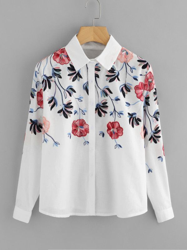 950571da3c Stereo Embroidery Shirt -SheIn(Sheinside) | shop | Shirt embroidery ...