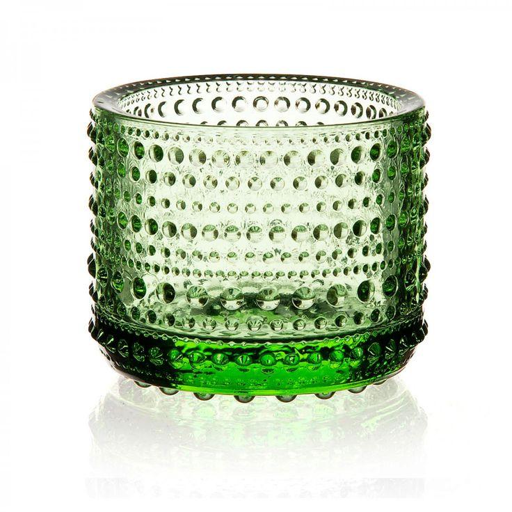 Iittala Kastehelmi Candleholder, Apple Green - David Mellor Design #candleholder #glass #iittala