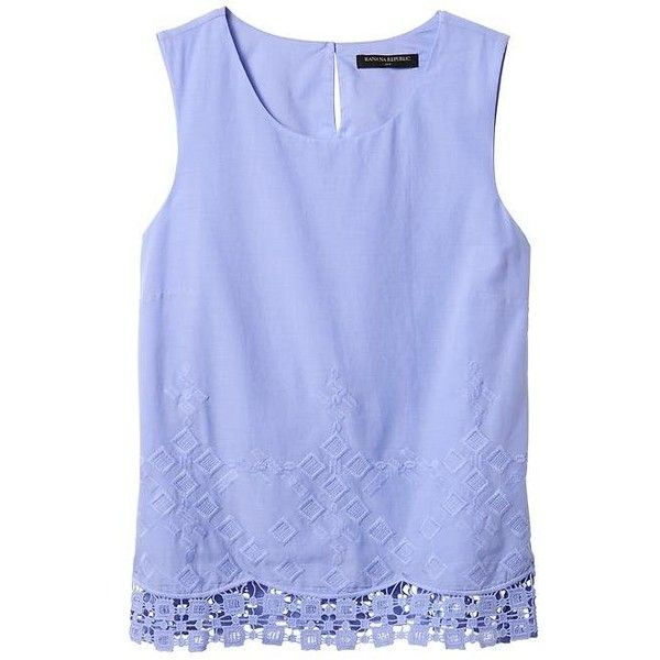 Banana Republic Factory Eyelet Trim Shell Top (2.845 RUB) ❤ liked on Polyvore featuring tops, blue top, shell tops, blue sleeveless top, banana republic tank top and sleeveless tops