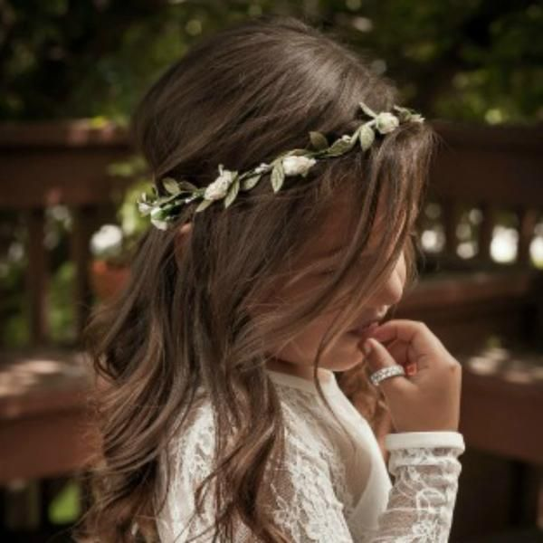 This is truly a simple and dainty flower crown. This flower girl headband is adjustable and will also fit up to adult size so your little princess can get a lot of wear out of it. It has small rosebud