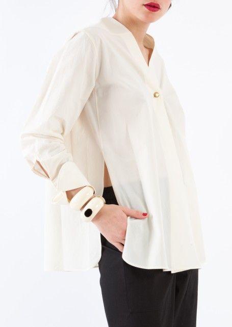 Lemaire - White Wrapover shirt - Département Féminin