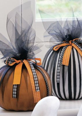 i like this tulle ribbon pumpkin cute but with our colors of course - Plastic Pumpkins