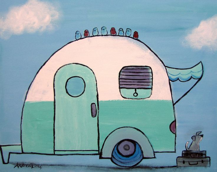 Retro Camper, Whimsical Childrens Decor, from andralynn Etsy site