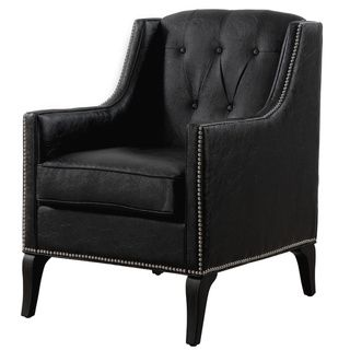 Roxbury Antique Black Leather Chair | Overstock™ Shopping - Great Deals on Living Room Chairs