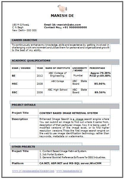 dot net sample resume for freshers