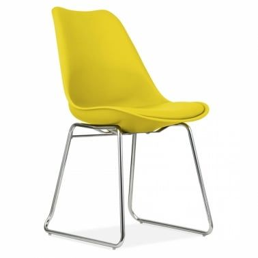 Eames Inspired Yellow Dining Chairs with Soft Pad Seat