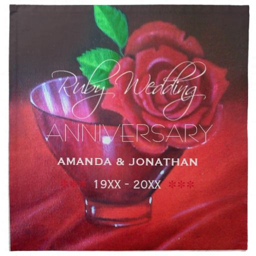 40th Ruby Wedding Anniversary Red Rose Napkins