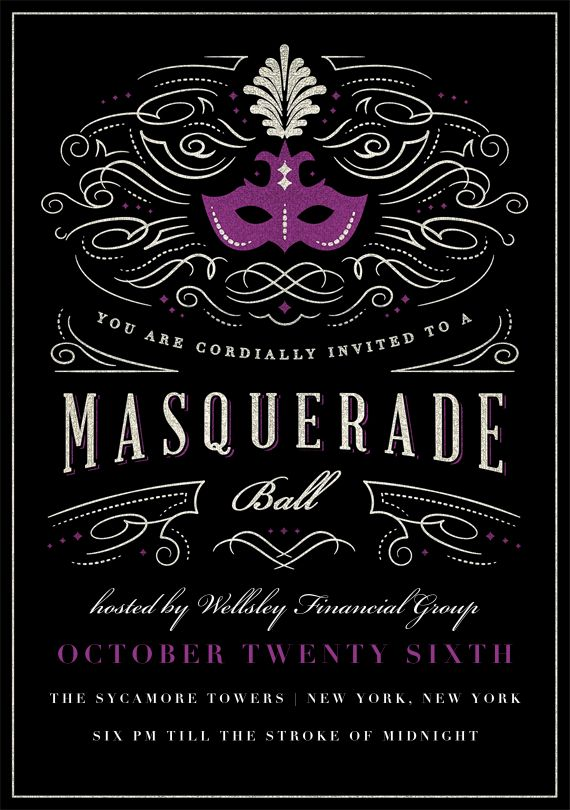 masquerade ball invitations in purple
