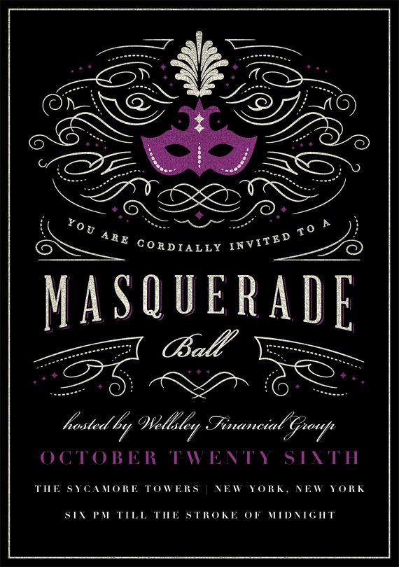 Masquerade Ball Invitations in Purple  random  Masquerade ball Masquerade prom Masquerade