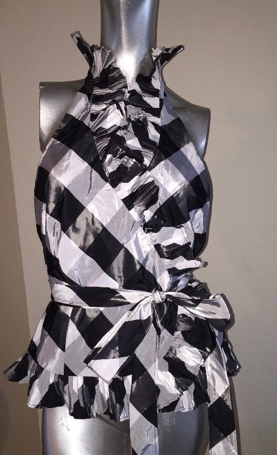 SALE! CACHE $148 BLACK WHITE VERY FEMININE RUFFLE SLEEVELESS DRESS SHIRT TOP NWT  | eBay