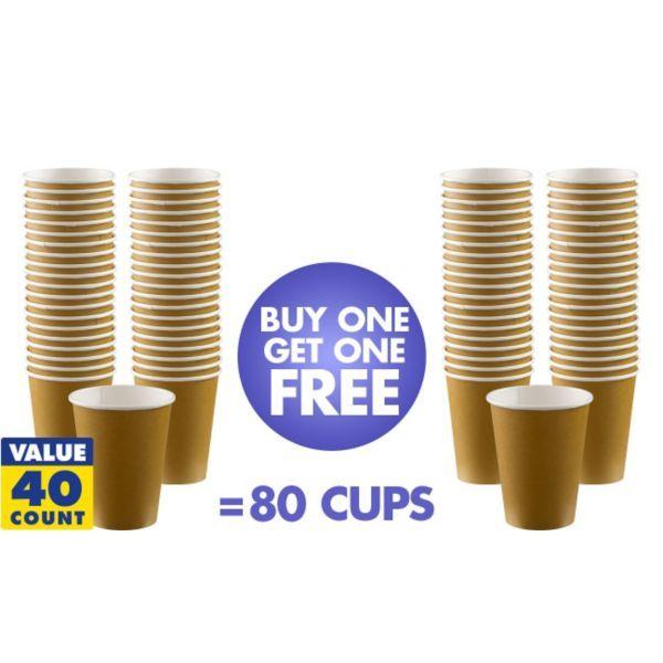 BOGO Gold Paper Coffee Cups 12oz 40ct