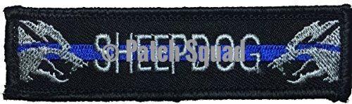 """Patch Squad Men's Sheepdog Patch Black Thin Blue line (4""""x1"""")"""