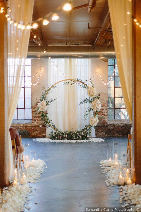 Stunning wedding ceremony decor and backdrop – round wedding arch styled with gr…