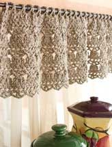 Pretty crocheted valance that would add softness to any room depending on the color. Pretty idea for a little girl's room.