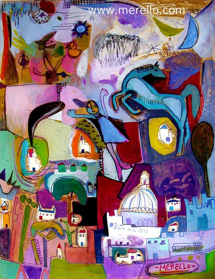 "A PAINTING FROM 2001.  POETRY AND SURREALISM. COLOR AND ART.  Jose Manuel Merello.- ""Bello de luna"" (2001-2003) Mix media on Canvas. (13x81 cm)  Arte contemporaneo. Arte Moderno espanol. Pintores actuales.. http://www.merello.com"