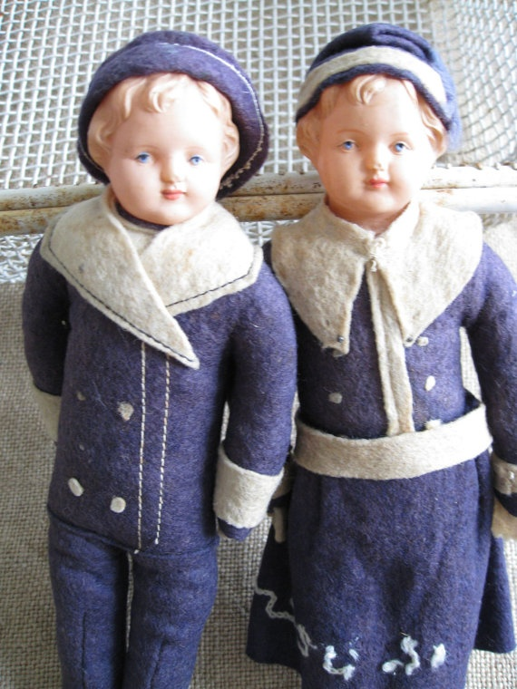 Antique Pair French Sailor Dolls by paprikarose on Etsy, $124.00