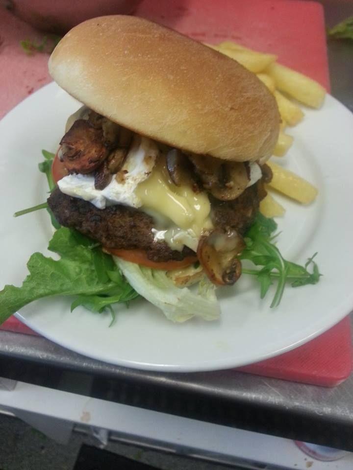 Beef and mushroom burger - homemade beef pattie, camembert, sautéed mushrooms, dijonnaise, lettuce and tomato
