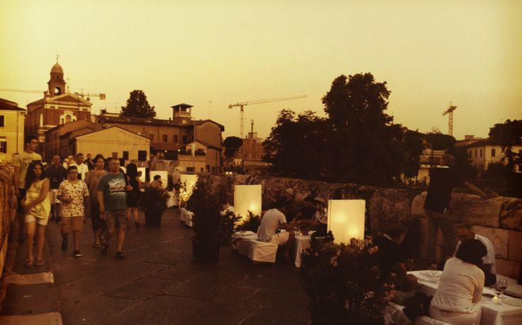 The Ponte di Tiberio transformed during the p.assagi di vino 2014 wine-tasting festival. http://www.visit-rimini.com/annual-events-in-rimini/p-assagi-di-vino-wine-tasting-festival/