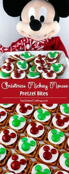 Christmas Mickey Mouse Pretzel Bites - yummy bites of sweet and salty Disney goodness. This Christmas Treat is perfect for a Holiday Party or as an any time Holiday Snack for that Disney fan in your life. Pin this adorable Christmas Dessert for later and follow us for more fun Christmas Food Ideas.