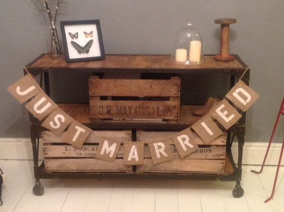 hessian burlap just married wedding banner by 999 etsy for back of
