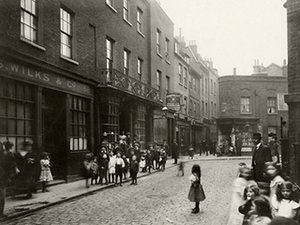 Spitalfields: Looking down Artillery Lane towards Artillery Passage
