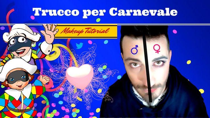 "Trucco per Carnevale ""Uomo/Donna""  Carnival Tutorial Makeup ""Double Face"" maschere di carnevale fai da te vvlog81 Tutorials"