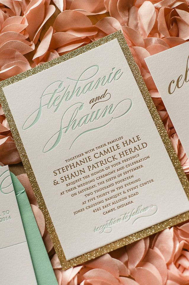 Glittery gold wedding invitation with mint details