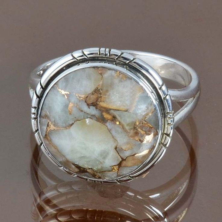 925 SOLID STERLING SILVER GOLDEN OPAL TURQUOISE RING 5.43g DJR9114 SZ-10 #Handmade #Ring