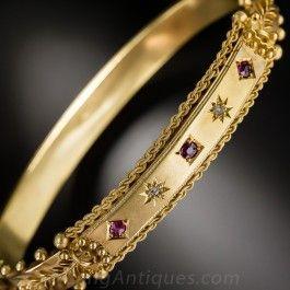 Antique English Ruby and Diamond Bangle Bracelet