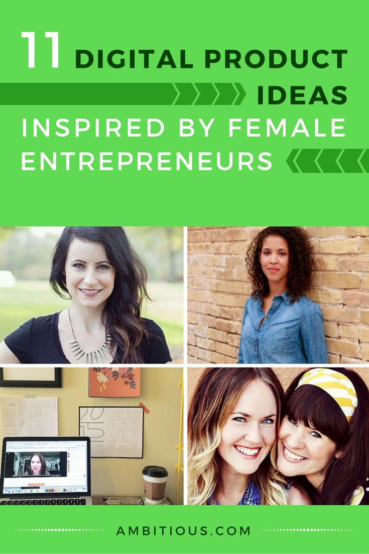 11 Digital Product Ideas Inspired by Female Entrepreneurs - by Krissany at Ambitious.com. | Can't decide what kinds of products you should sell online? Hint: the products don't always have to be something BIG like a course or a WordPress theme for passive income.