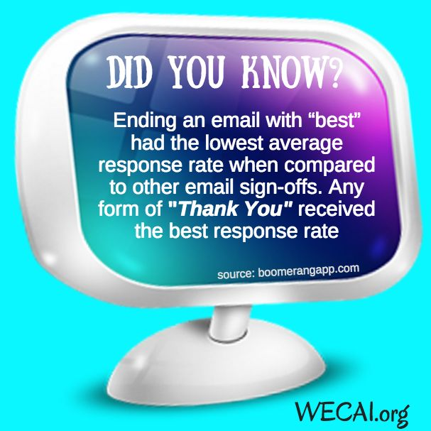 """DYK? Ending an email with """"best"""" had the lowest average response rate when compared to other email sign-offs. Any form of """"Thank You"""" received the best response rate https://plus.google.com/+HeidiRichards/posts/FJs1n2Gx1CT"""