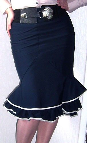 Double frill fishtail skirt with ruched back seam and by Dollchops