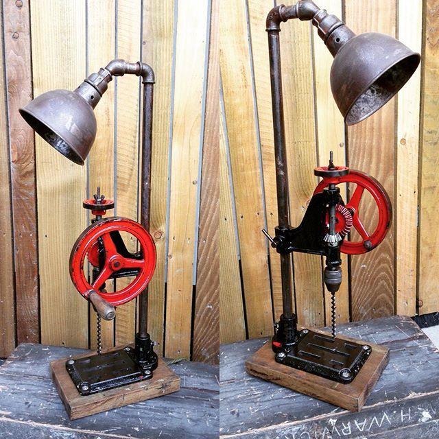 Industrial style light. Upcycled vintage pillar drill. FOR SALE #stesupcycleworkshop #oneofakind #edisonbulb #vintage #upcyclelamp #interiadesigne